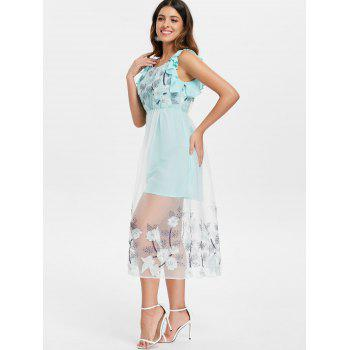 Mesh Panel Floral Embroidered Midi Dress - BABY BLUE M