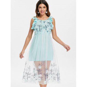 Mesh Panel Floral Embroidered Midi Dress - BABY BLUE S