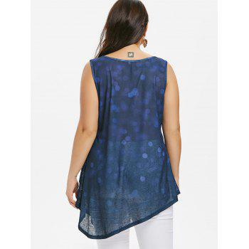 Plus Size Graphic Relaxed Tank Top - BLUEBERRY BLUE 5X