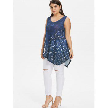 Plus Size Graphic Relaxed Tank Top - BLUEBERRY BLUE 2X