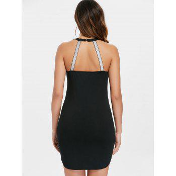 Shiny Cage Cut Summer Slim Dress - BLACK M