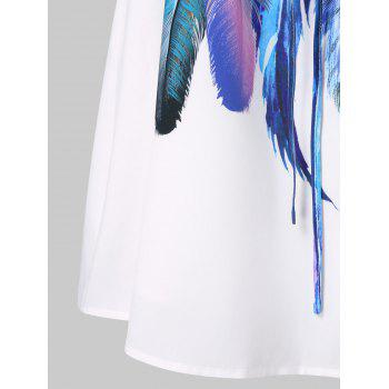 Feathers Printed Double Straps Dress - WHITE M