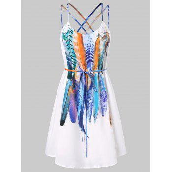 Feathers Printed Double Straps Dress