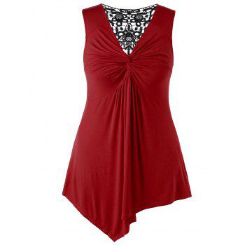 Plus Size Twist Front Asymmetrical Top - RED 3X