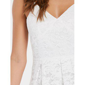 Backless Cami Straps Lace Dress - MILK WHITE L