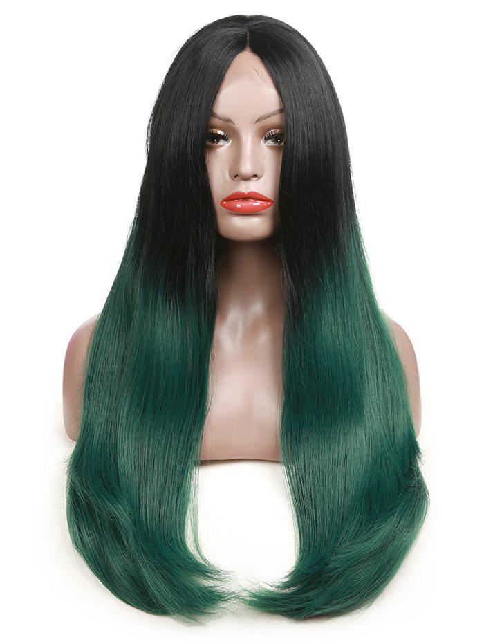 Long Center Parting Ombre Straight Party Synthetic Lace Front Wig long straight blue heat resistant synthetic lace front party wig