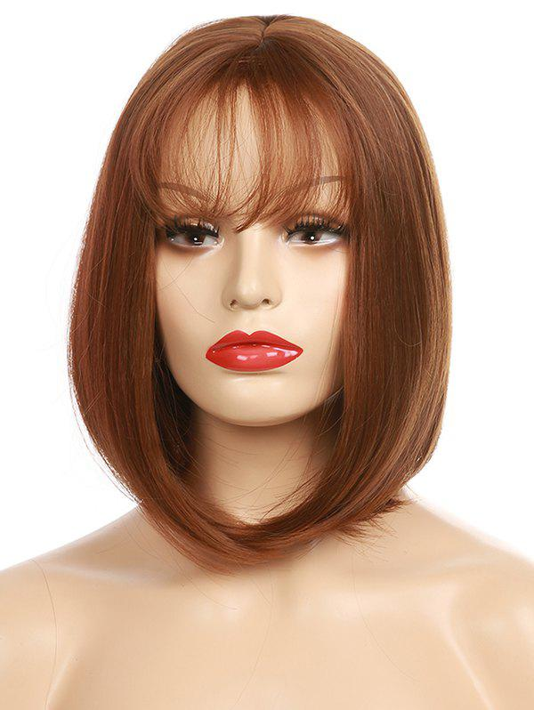 Short See-through Fringe Straight Bob Party Synthetic Wig - BROWN