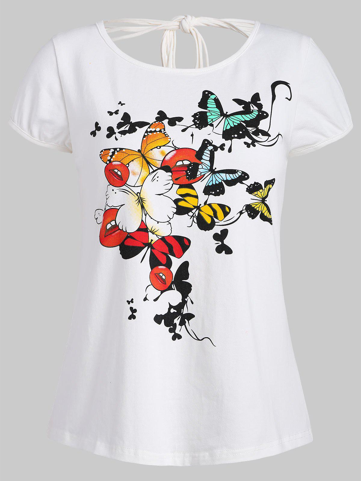 Ripped Cut Out Butterfly Print Graphic T-shirt - WHITE XL