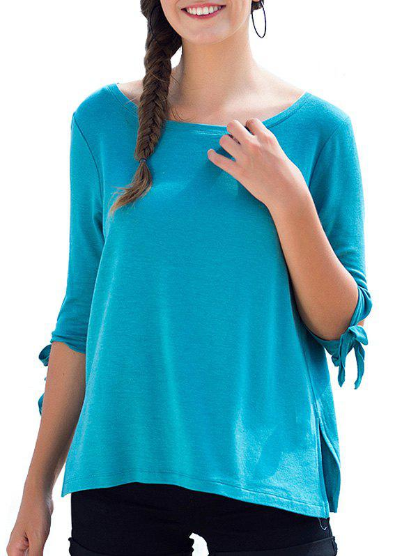 Round Neck Bow Tie Sleeves Tee - BUTTERFLY BLUE S