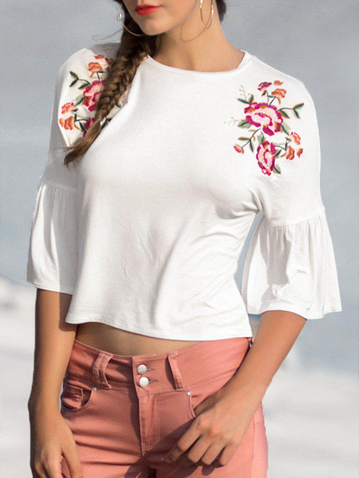 Floral Embroidery Horn Sleeve Leisure Top - MILK WHITE M