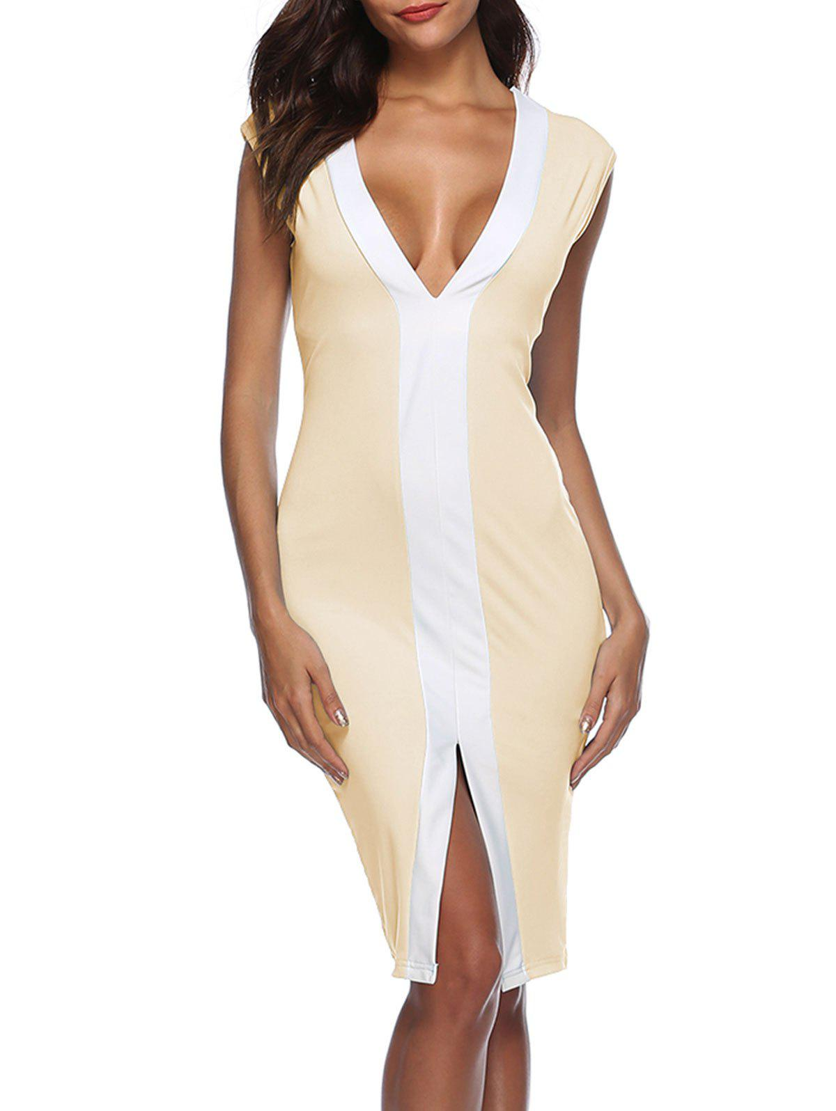 Front Slit Color Block Bodycon Dress - APRICOT L
