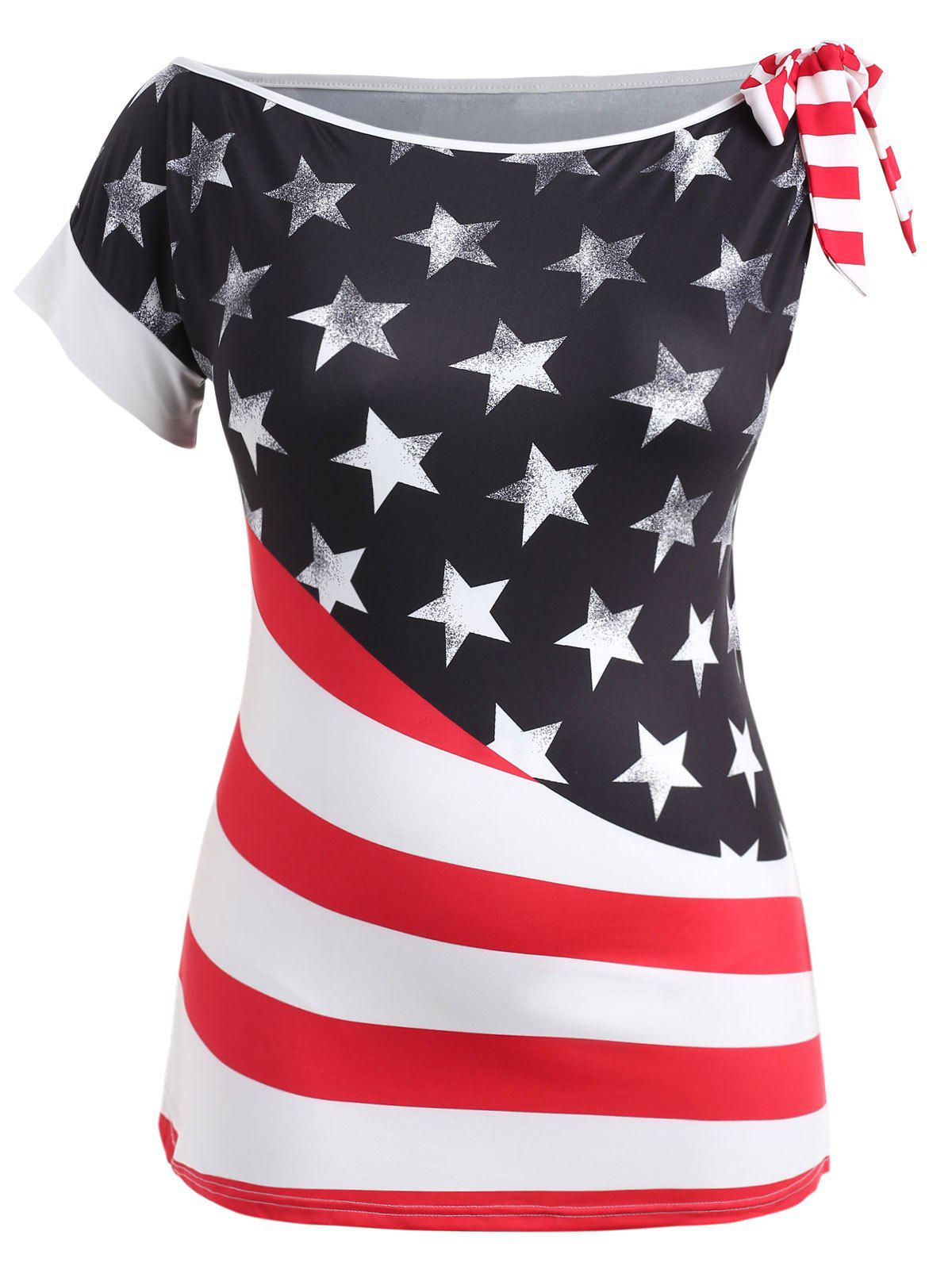 Plus Size Bowknot American Flag T-shirt - FIRE ENGINE RED 5X