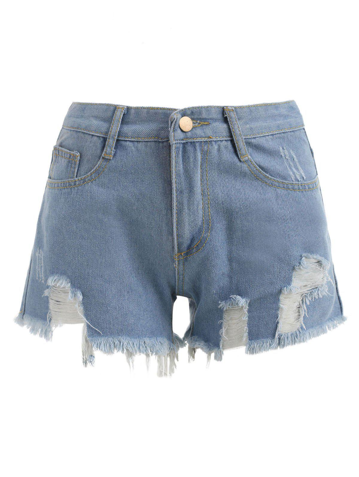 Mid Waisted Distressed Shorts - DENIM BLUE L