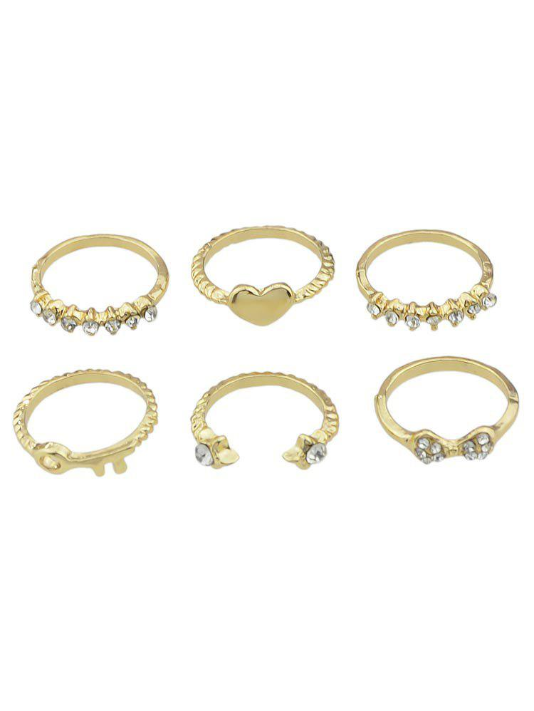 Heart Shaped Rhinestone Decoration Ring Set - GOLD ONE-SIZE
