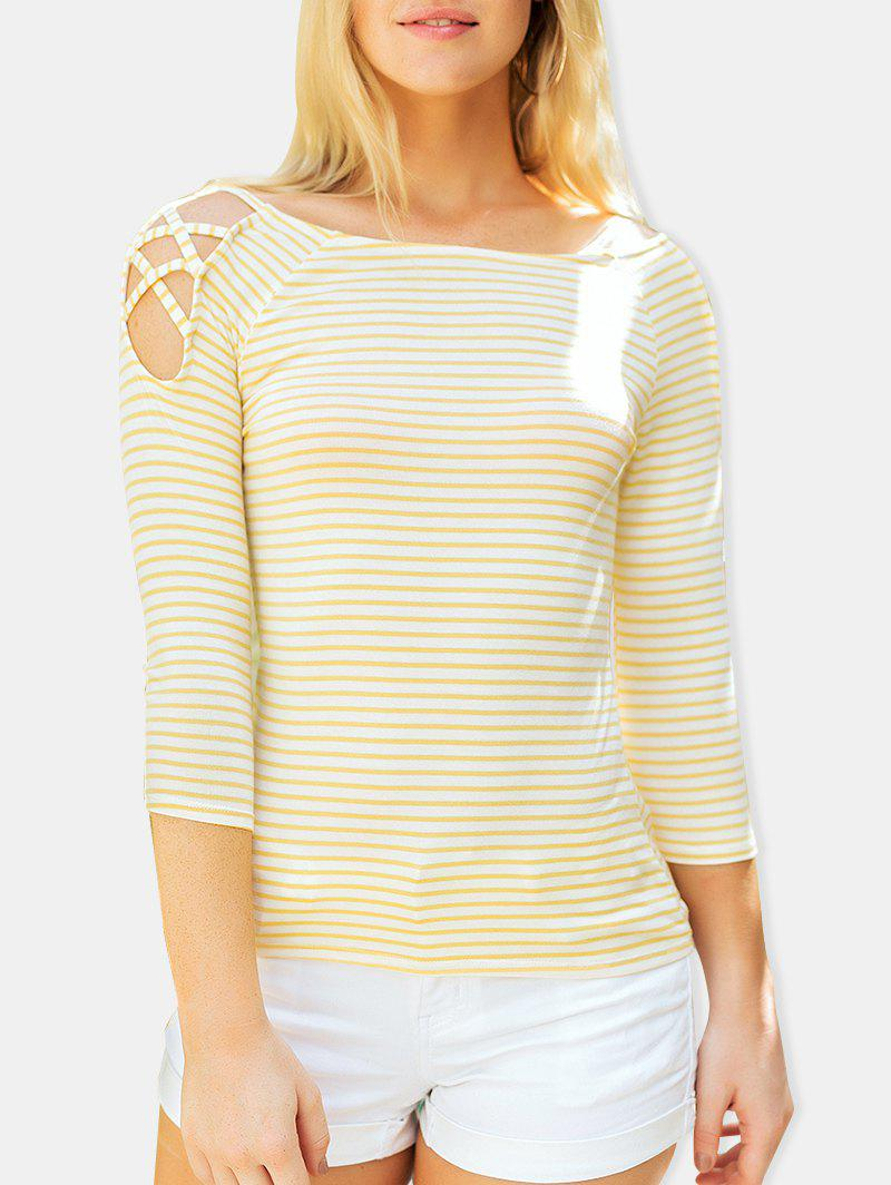 Stripe Cold Shoulder Casual Tee - YELLOW M