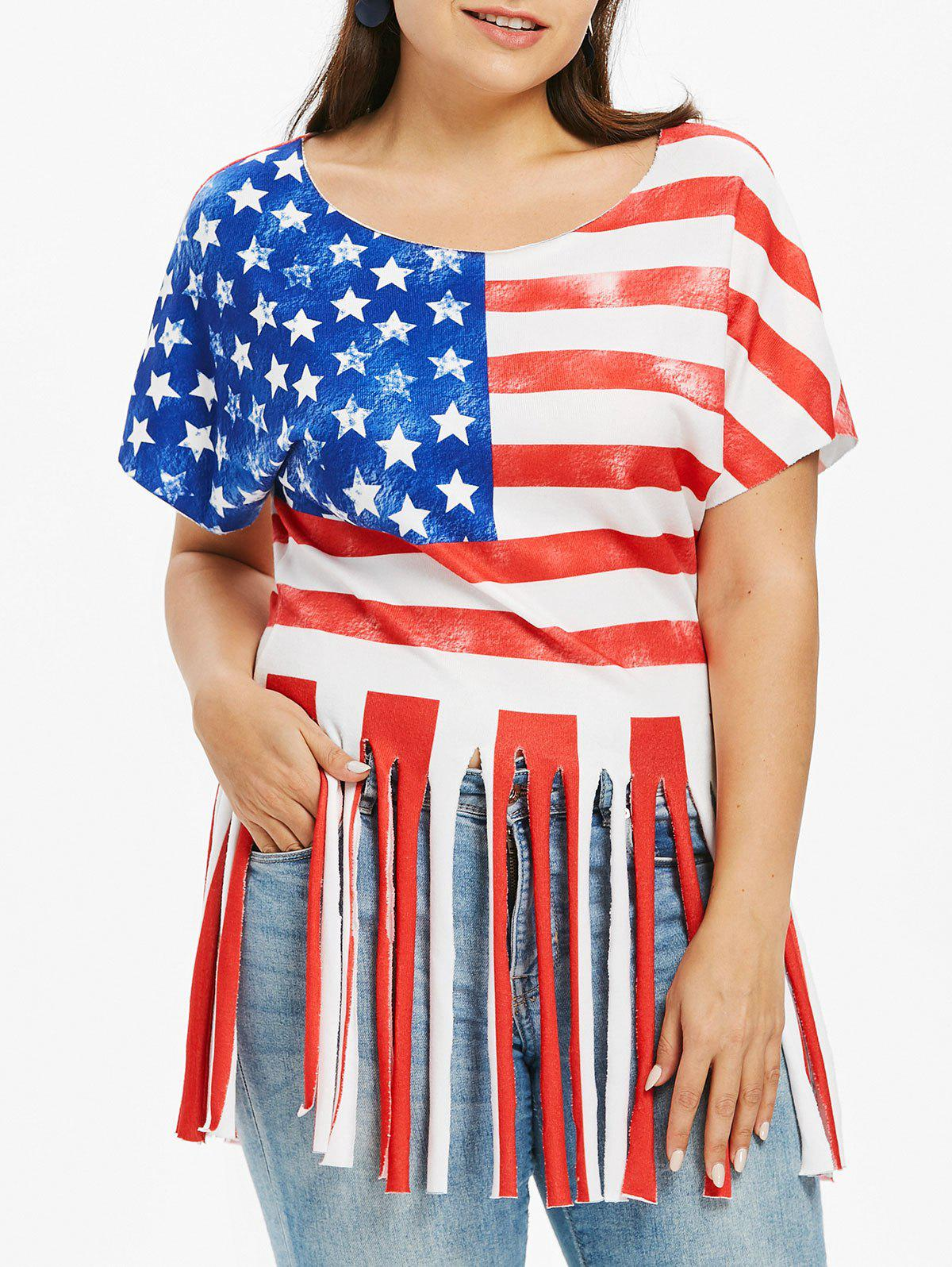Plus Size Swing American Flag T-shirt - FIRE ENGINE RED L
