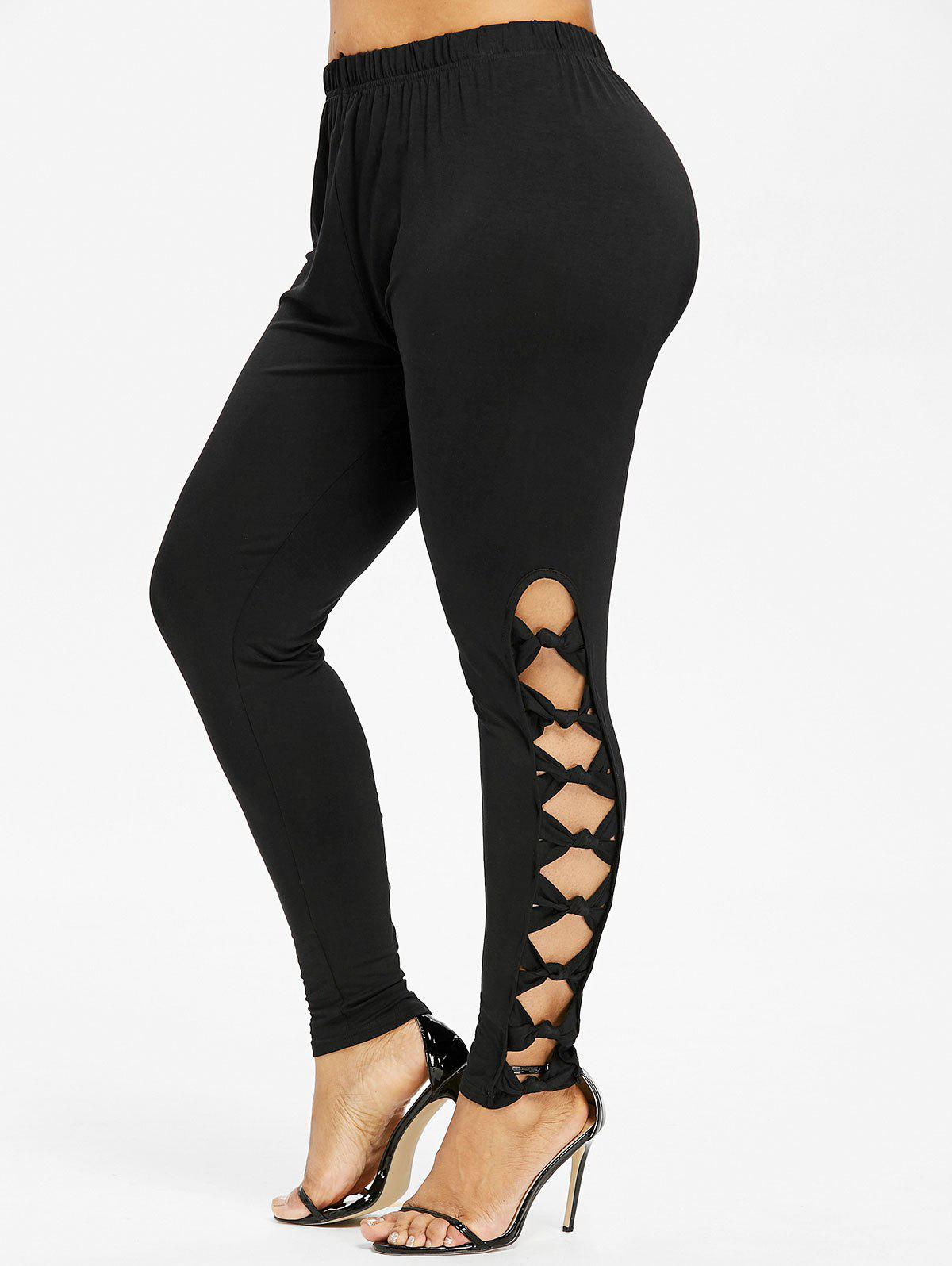 Plus Size Bowknot High Waist Leggings - BLACK L