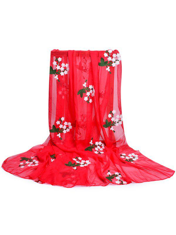 Soft Floral Embroidery Silky Shawl Scarf - FIRE ENGINE RED