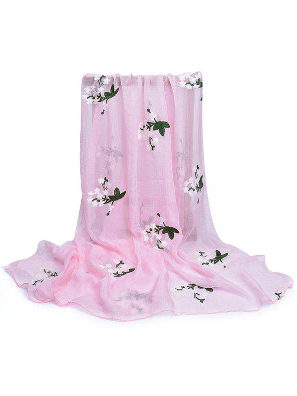 Soft Floral Embroidery Silky Shawl Scarf - LIGHT PINK
