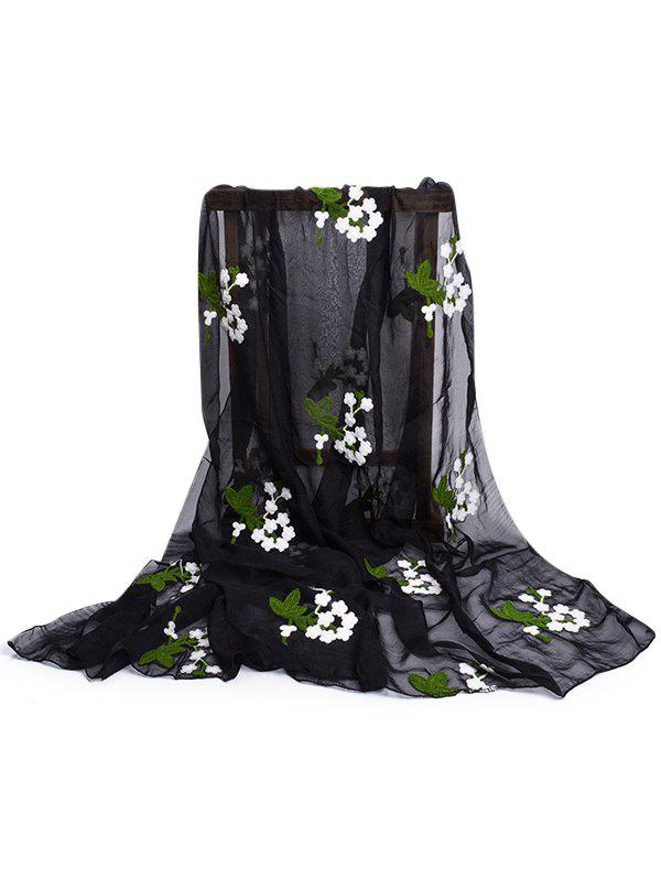 Soft Floral Embroidery Silky Shawl Scarf - BLACK