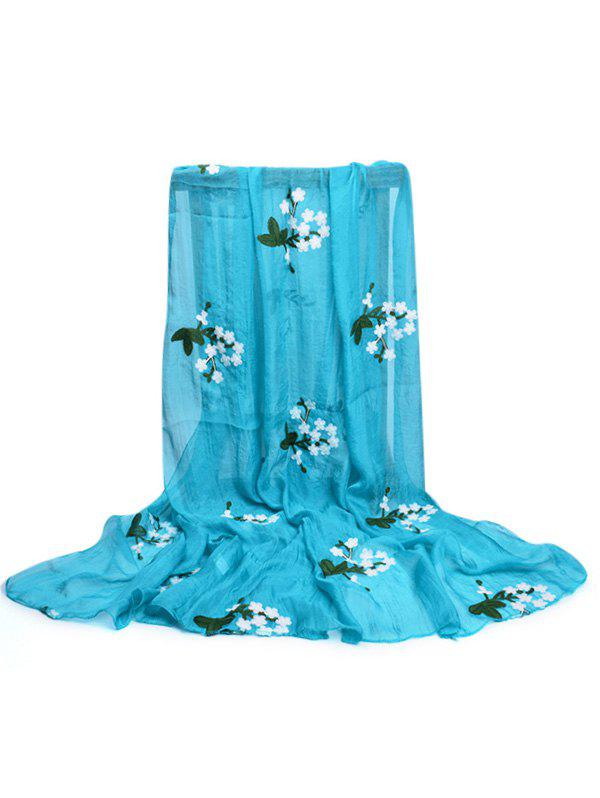 Soft Floral Embroidery Silky Shawl Scarf - DAY SKY BLUE