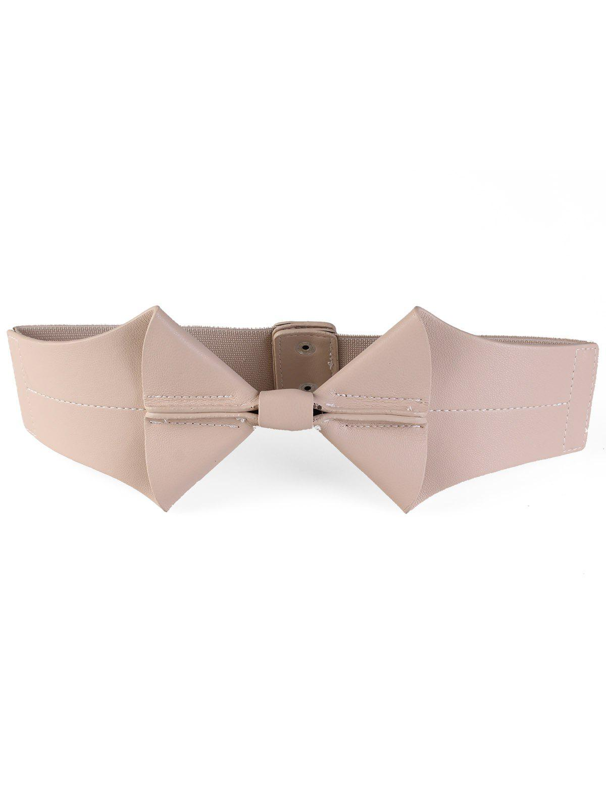 Bowknot Faux Leather Wide Elastic Stretch Waist Belt elastic waist faux fly stretch pants