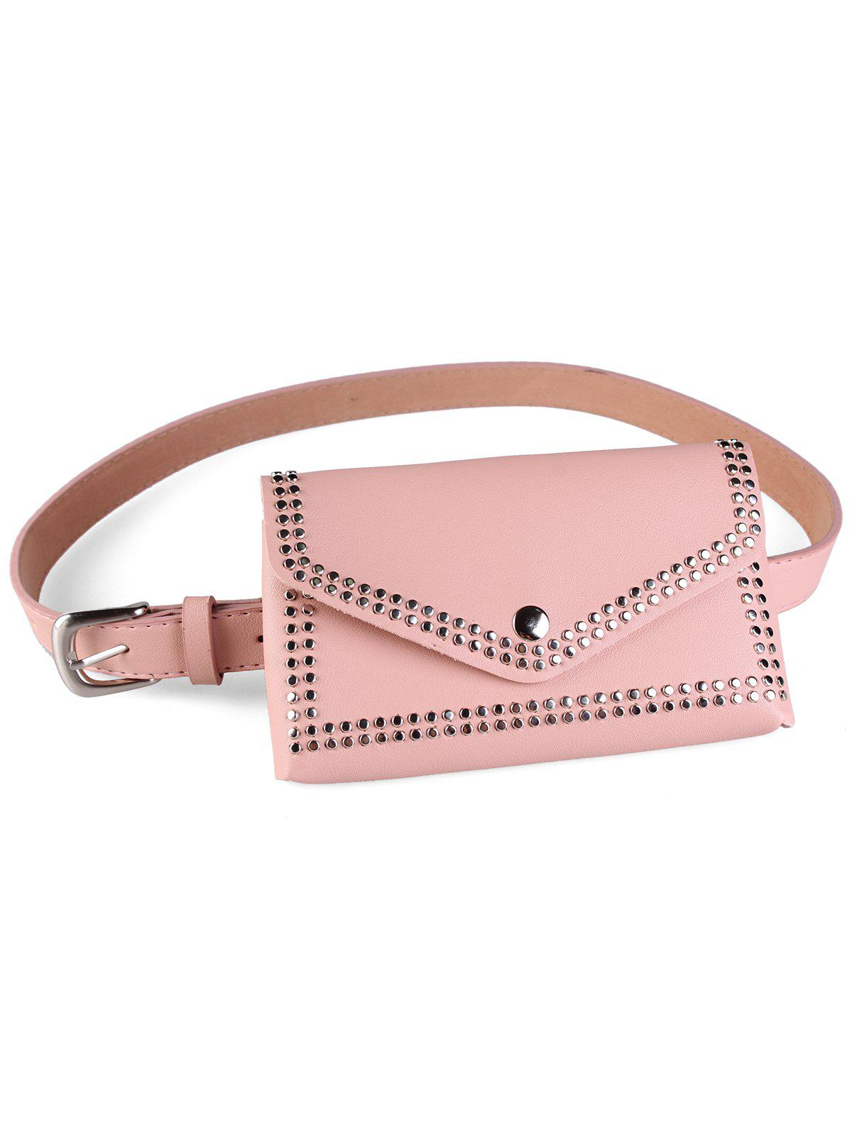 Rivet Fanny Pack Embellished Faux Leather Belt Bag - PINK