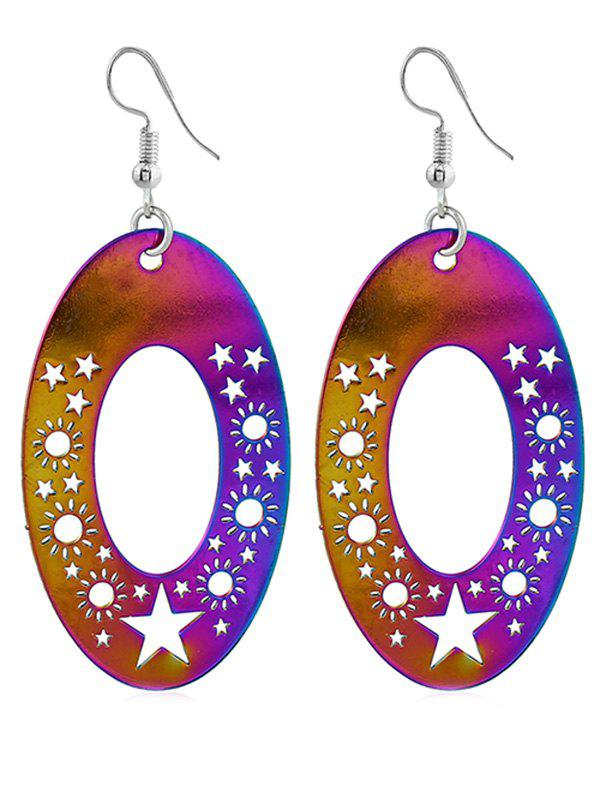 Unique Star Sun Embellished Party Hook Earrings - multicolor