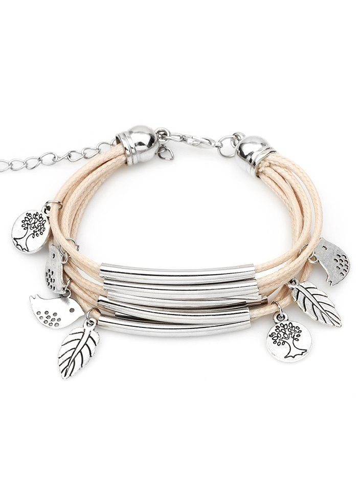 Cute Birds Plant Multilayer Bracelet - BEIGE