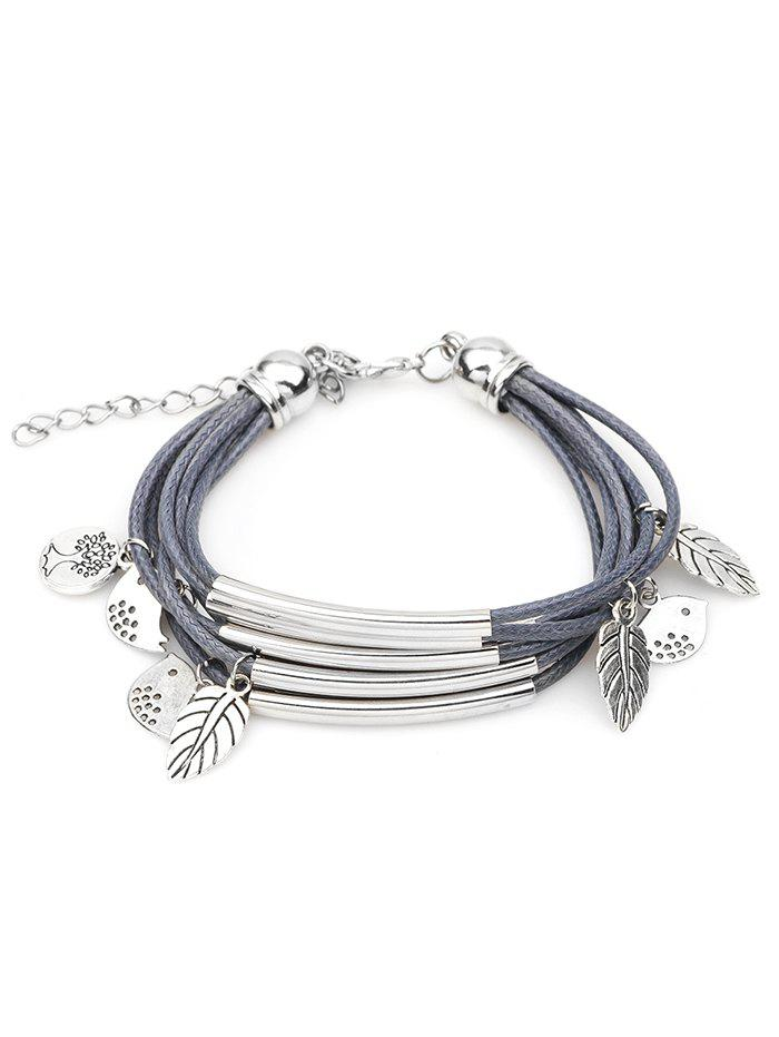 Cute Birds Plant Multilayer Bracelet - BLUE GRAY