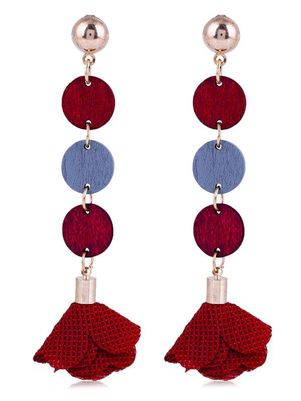 Pair of Floral Cloth Wooden Round Drop Earrings - LOVE RED