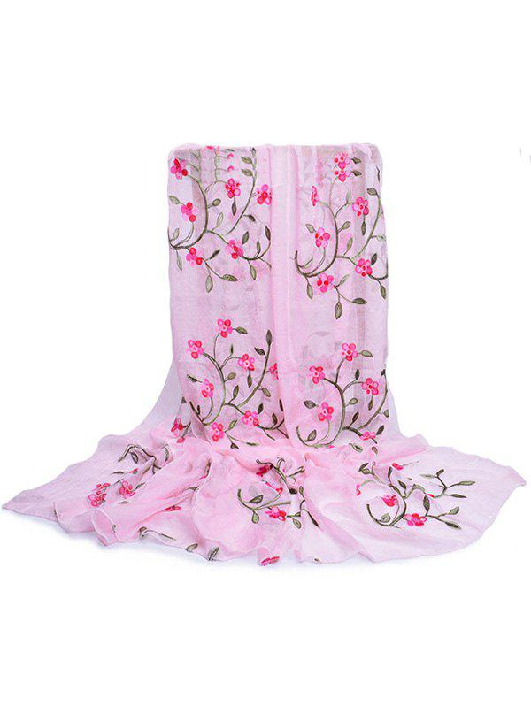 Vintage Flower Embroidery Silky Long Scarf - PIG PINK