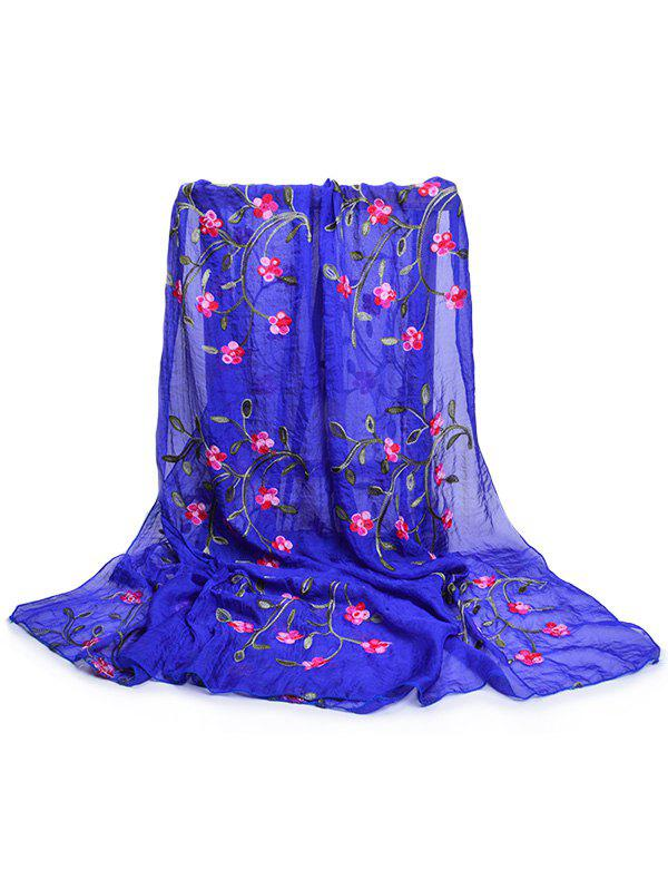 Vintage Flower Embroidery Silky Long Scarf - ROYAL BLUE