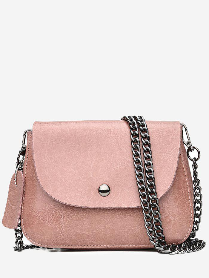 Minimalist Solid Flap PU Leather Sling Bag - LIGHT PINK