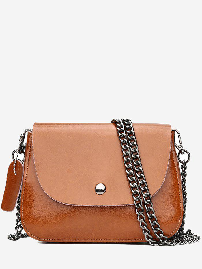 Minimalist Solid Flap PU Leather Sling Bag - LIGHT BROWN