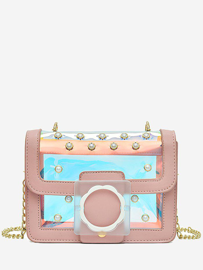 Reflective Light Jelly Flap Metal Chain Crossbody Bag