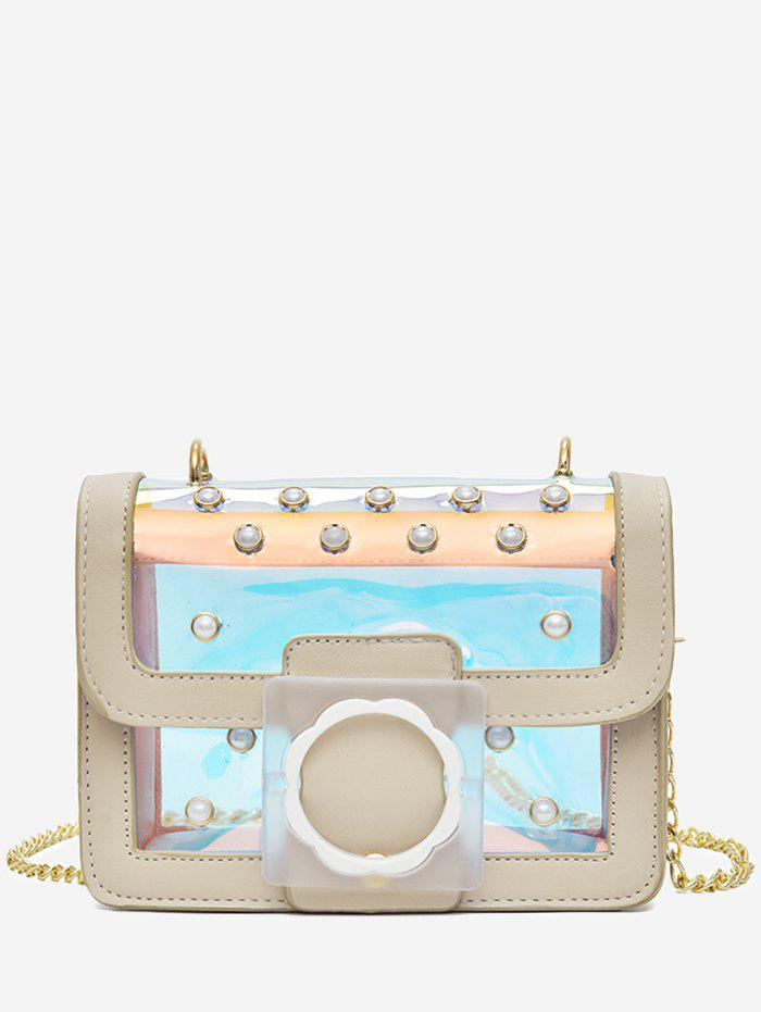 Reflective Light Jelly Flap Metal Chain Crossbody Bag - BEIGE