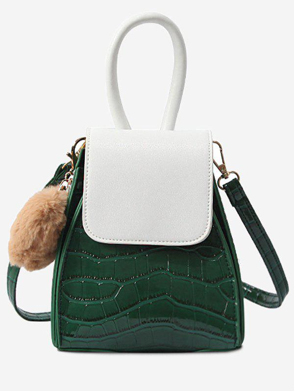 Geometric Shaped Color Block Flap Handbag - MEDIUM SEA GREEN