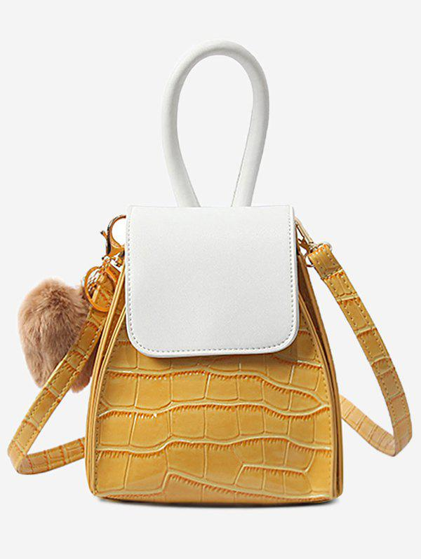 Geometric Shaped Color Block Flap Handbag - BEE YELLOW