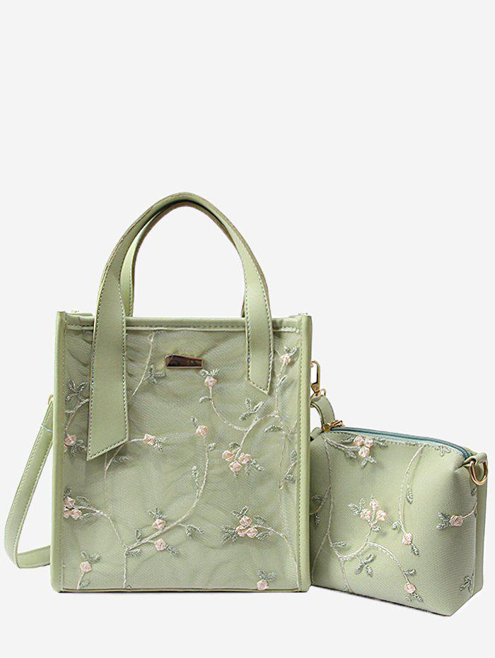Floral Lace Decorated 2 Pieces Tote Bag Set - GREEN