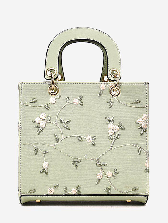 Floral Embroidery Chic Lace Handbag with Strap - GREEN