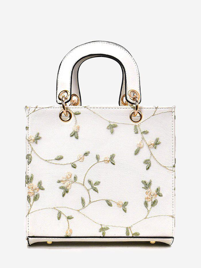 Floral Embroidery Chic Lace Handbag with Strap - WHITE