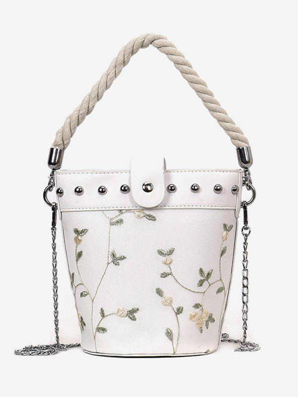 Studs Rope Flower Decorated Handbag with Chain - WHITE