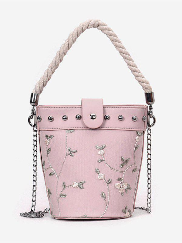 Studs Rope Flower Decorated Handbag with Chain - PINK