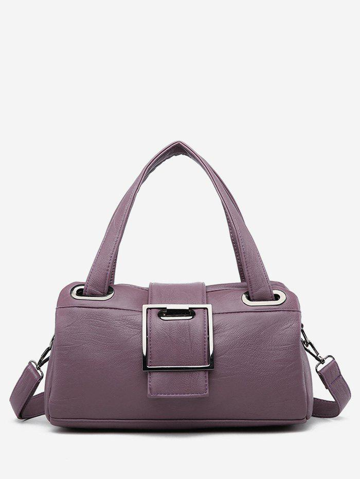 Chic Faux Leather Minimalist Tote Bag with Strap - PURPLE