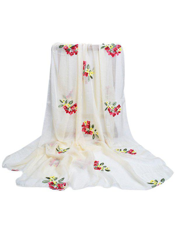 Vintage Floral Pattern Party Event Travel Scarf - BEIGE