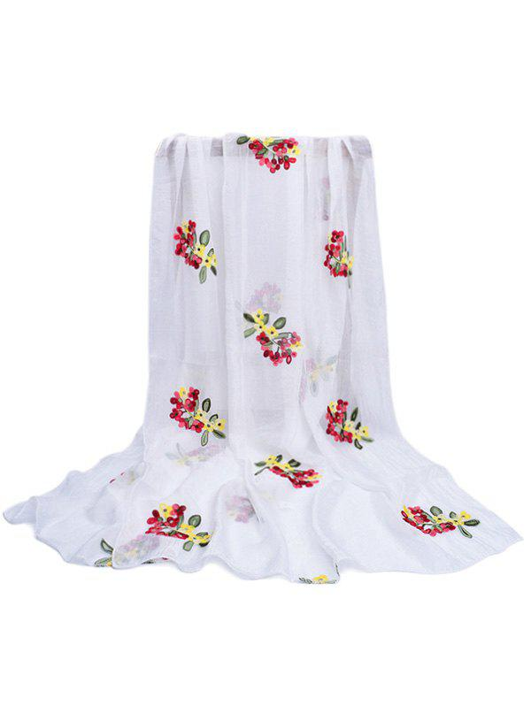 Vintage Floral Pattern Party Event Travel Scarf - WHITE