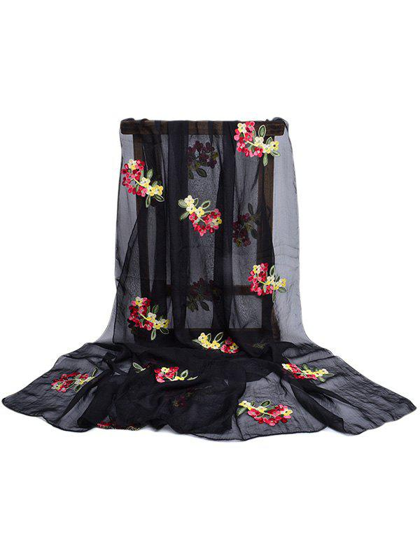 Vintage Floral Pattern Party Event Travel Scarf - BLACK