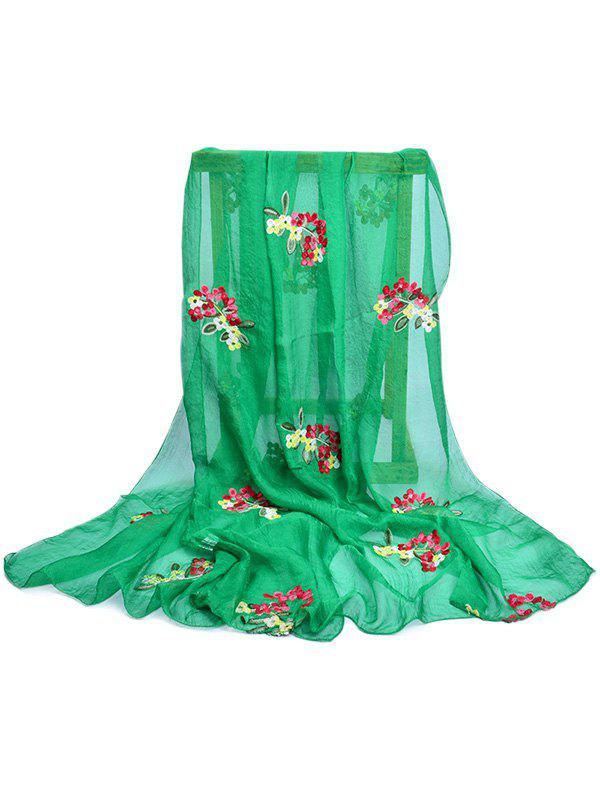 Vintage Floral Pattern Party Event Travel Scarf - SPRING GREEN