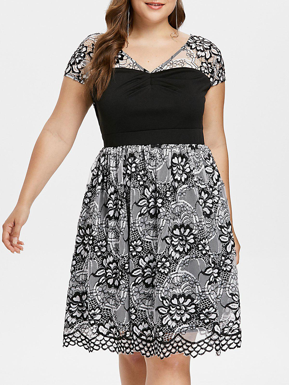 Plus Size Floral Lace V Neck Dress - multicolor 1X